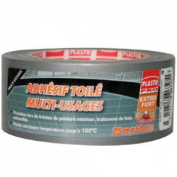 Toile multi-usages extra forte grise - 25M x 48mm