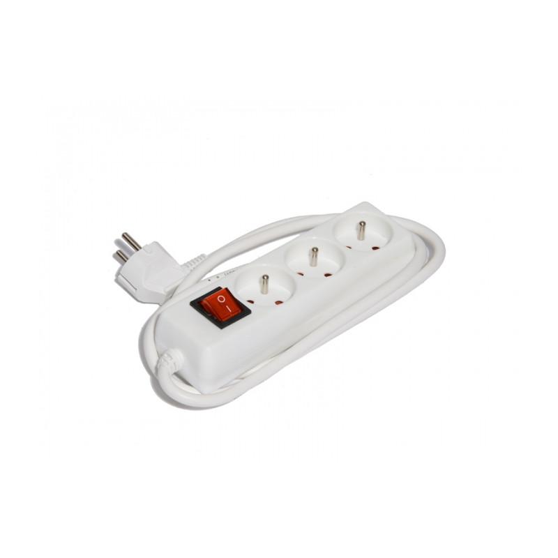 bloc electrique domestique blanc 3 prises manubricole. Black Bedroom Furniture Sets. Home Design Ideas