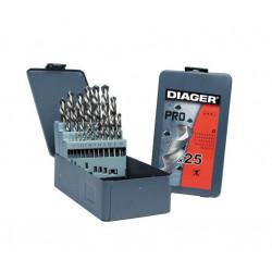 Coffret forets métal 25 pièces HSS meulés PRO - DIAGER