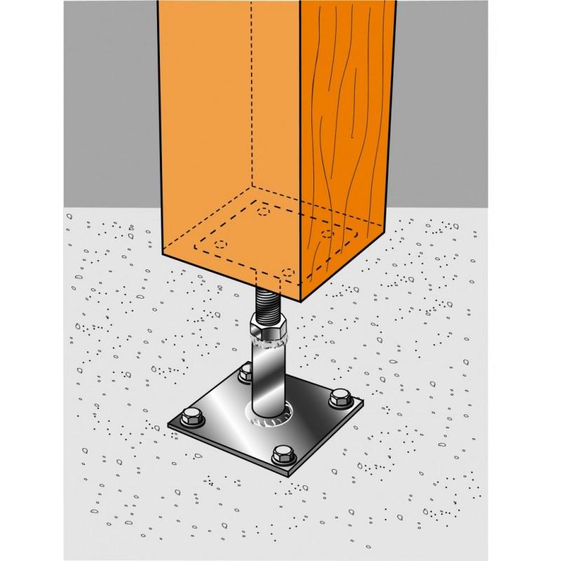 pied de poteau inox reglable de 100 130 mm pprix. Black Bedroom Furniture Sets. Home Design Ideas
