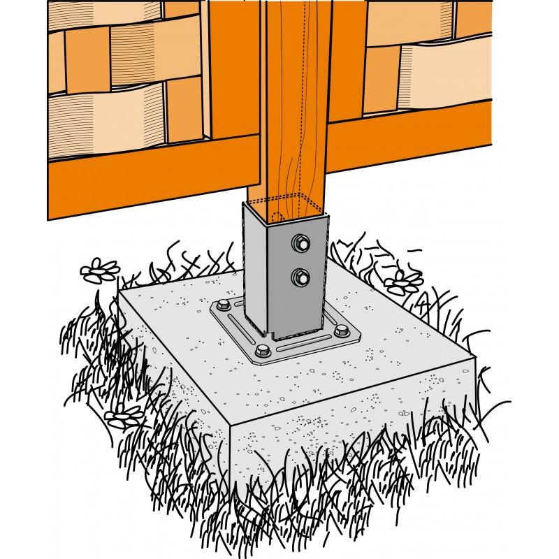 kit de fixation complet pour poteau carr de 70mm manubricole. Black Bedroom Furniture Sets. Home Design Ideas
