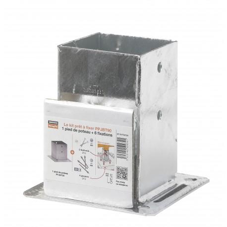 Kit de fixation complet pour poteau carré de 90mm