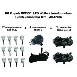 Kit 12 spots DECKY 1 LED White + transformateur + câble connecteur 12m - AKANUA