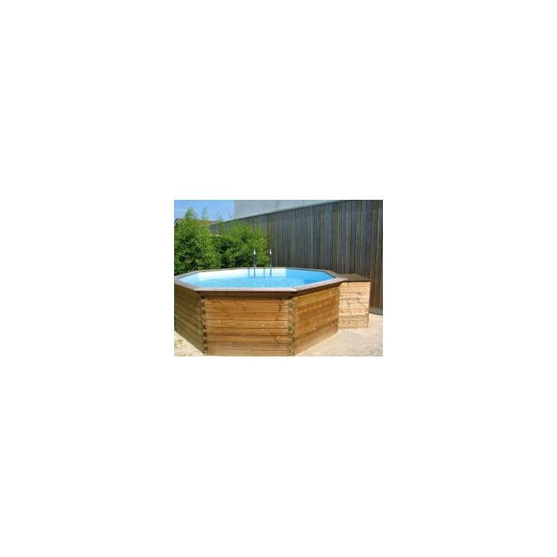 Gardipool octoo 5 00 x 1 20 margelle pin piscine bois for Margelle piscine bois
