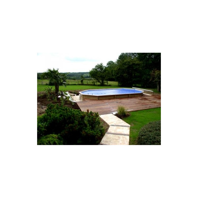Gardipool oblong 3 90 x x 1 20 margelle pin piscine for Margelle piscine bois