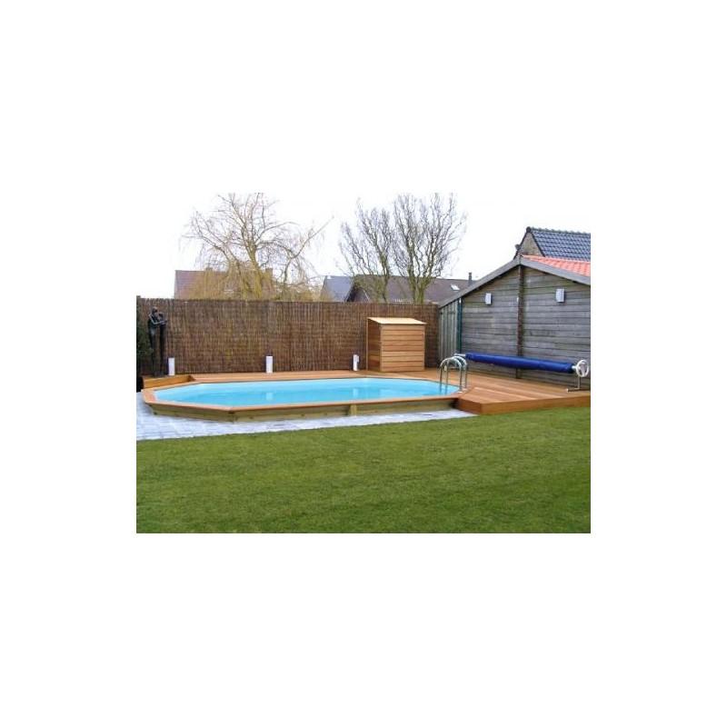 Gardipool oblong 3 90 x x 1 46 margelle pin piscine for Margelle piscine bois