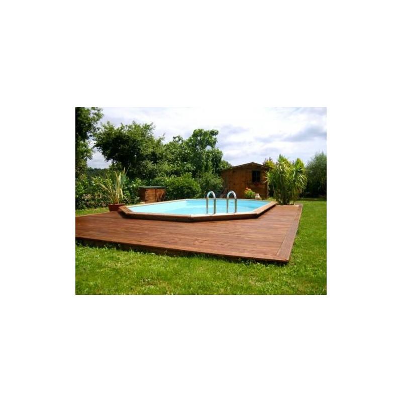 Gardipool oblong 3 90 x x 1 46 margelle ipe piscine for Margelle piscine bois