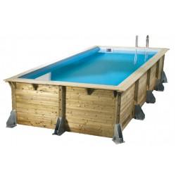 Piscine bois rectangulaire Azura 350x505 cm H.126cm liner bleu UBBINK