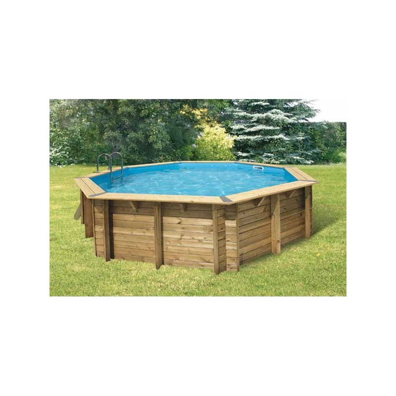 Piscine bois octogonale oc a 580 cm cm ubbink for Piscine octogonale