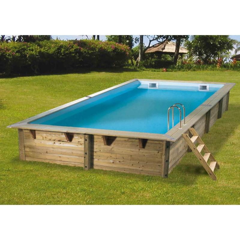 piscine bois rectangulaire lin a 350 x 650 cm ubbink manubricole. Black Bedroom Furniture Sets. Home Design Ideas