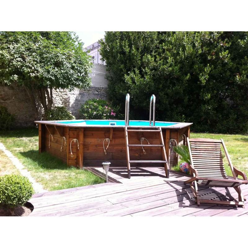 Piscine bois azura 410 h120cm liner bleu b che for Liner piscine bois hexagonale