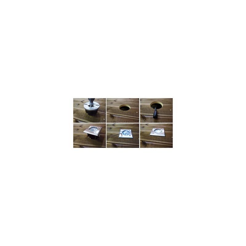 spot carre a encastrer 230 v easy connect 10 cm x 10 cm platine inox ip67 manubricole. Black Bedroom Furniture Sets. Home Design Ideas
