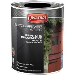 Rustol AP60 Noir 1 litre - Peinture Primaire et finition - Antirouille tous supports