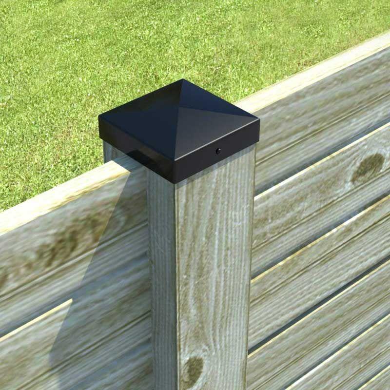 chapeau pyramide noir pour poteau bois 7x7 manubricole. Black Bedroom Furniture Sets. Home Design Ideas