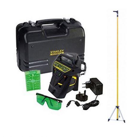 PACK Niveau laser Multiligne X3R 360° VERT + Accesoires + Malette + Canne télescopique - STANLEY