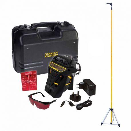 PACK Niveau laser Multiligne X3R 360° ROUGE+ Accesoires + Malette + Canne télescopique STANLEY