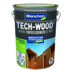 Lasure Tech-Wood Blanc - 5L - BLANCHON