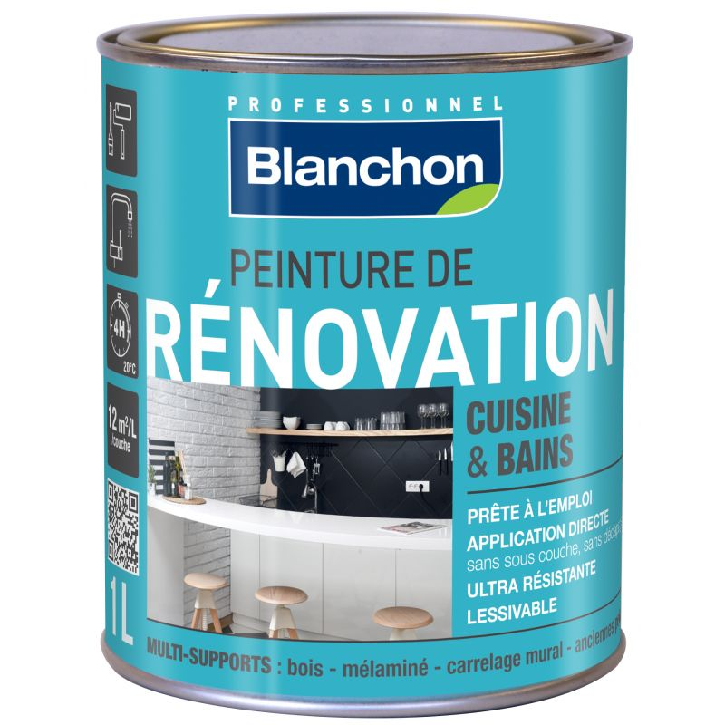 Peinture r novation cuisine salle de bain 1l blanc cass for Peinture renovation cuisine bois