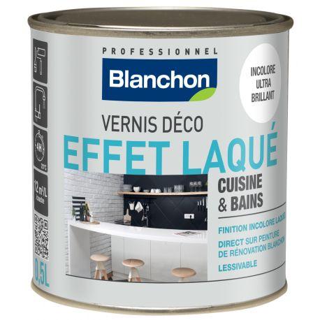Vernis d co effet laqu pour cuisine et bains 0 5 l for Peinture pour meuble de cuisine laque